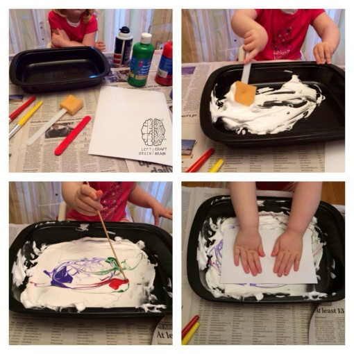 shaving cream swirl paper craft instructions left brain craft brain