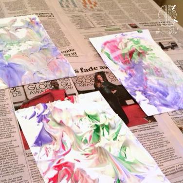 shaving cream swirl paper finished craft left brain craft brain