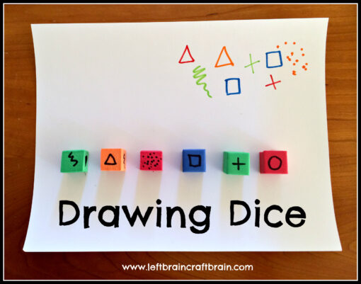 drawing dice with text