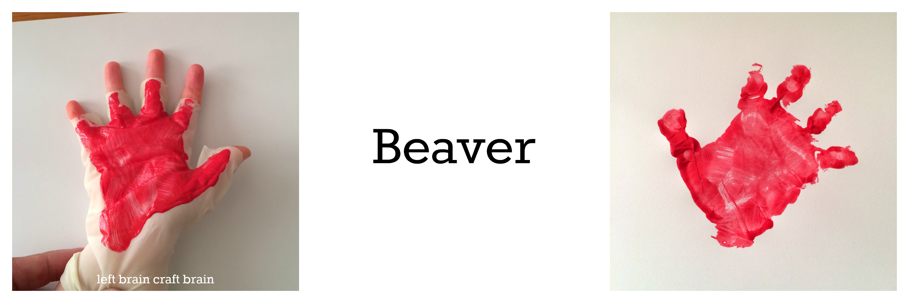 Beaver animal track hand print left brain craft brain