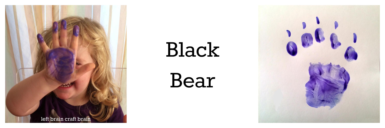 black bear animal tracks hand print left brain craft brain