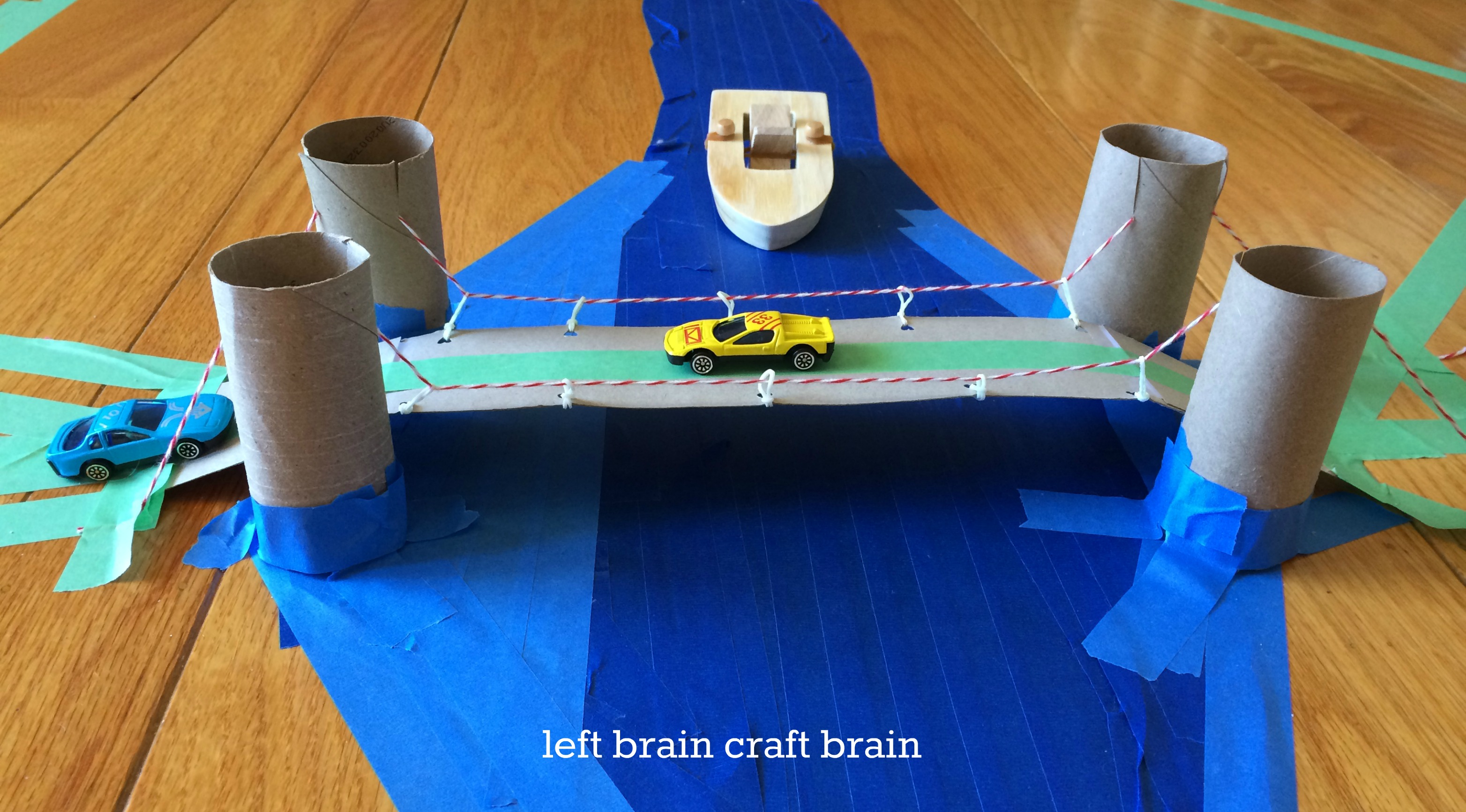 diy recycled suspension bridge craft closeup left brain craft brain