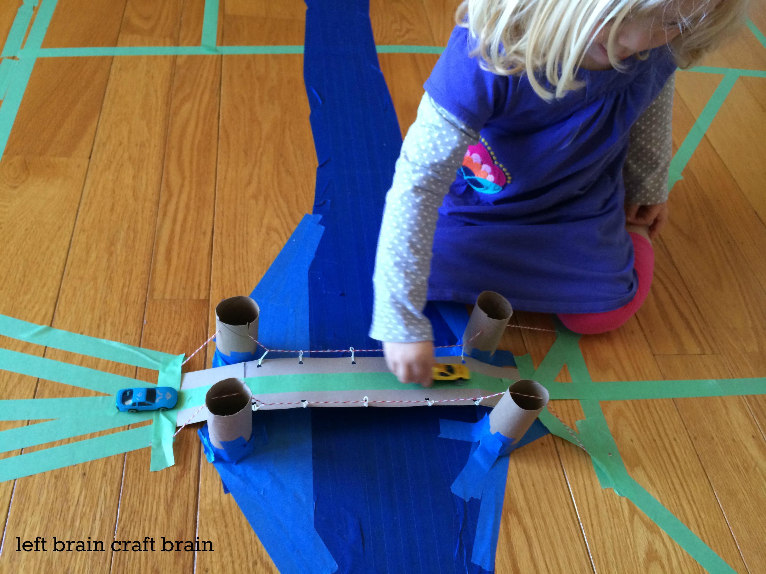 play diy recycled suspension bridge craft left brain craft brain