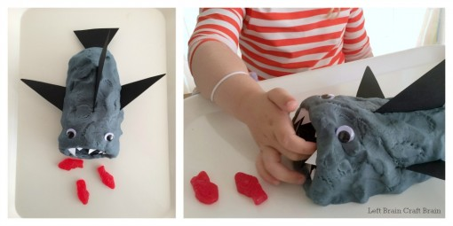 feed the shark play dough left brain craft brain collage