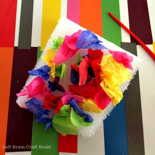 tissue paper sensory art finished left brain craft brain