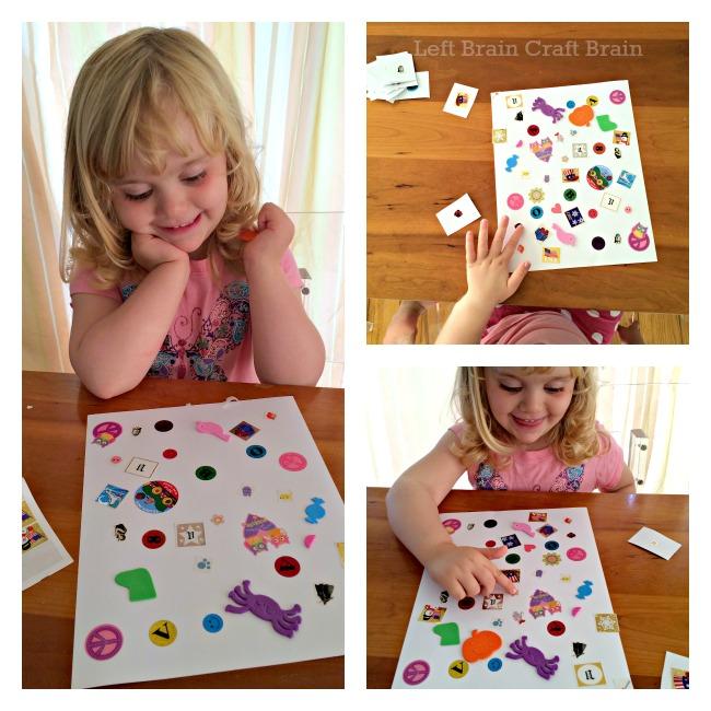 DIY Sticker Seek and Find Game collage Left Brain Craft Brain