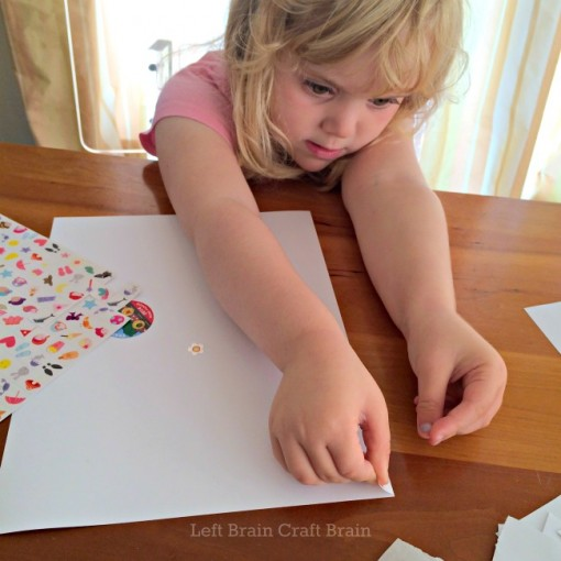 DIY Sticker Seek and Find Game placing stickers Left Brain Craft Brain