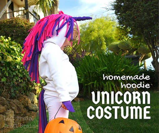 Homemade Hoodie Unicorn Costume Tutorial Left Brain Craft Brain FB