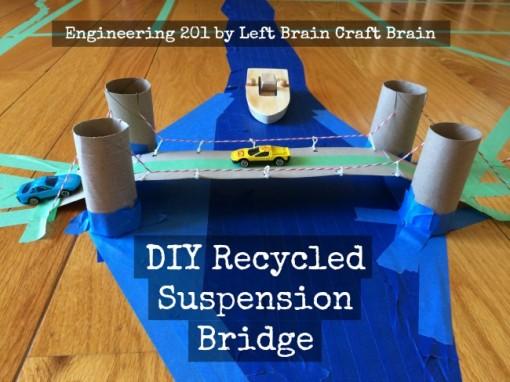 engineering 201 diy recycled suspension bridge activity left brain craft brain FB