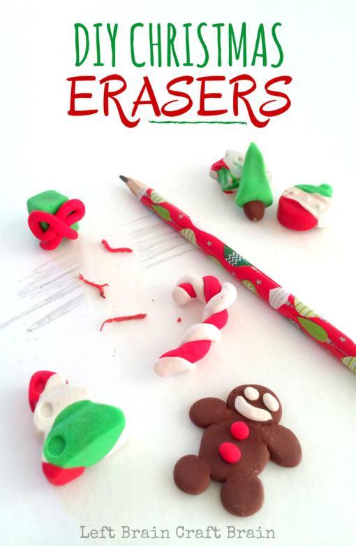 Christmas erasers sitting on a white desk next to a Christmas pencil