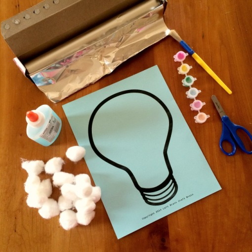 Glow in the Dark Cotton Ball Light Bulb Supplies Left Brain Craft Brain