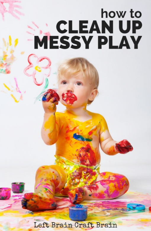 Tips, tricks and hacks for cleaning kids' favorite messy play materials like paint, glitter, and play dough.  I'm not letting the mess keep away the fun!  #EurekaPower #shop