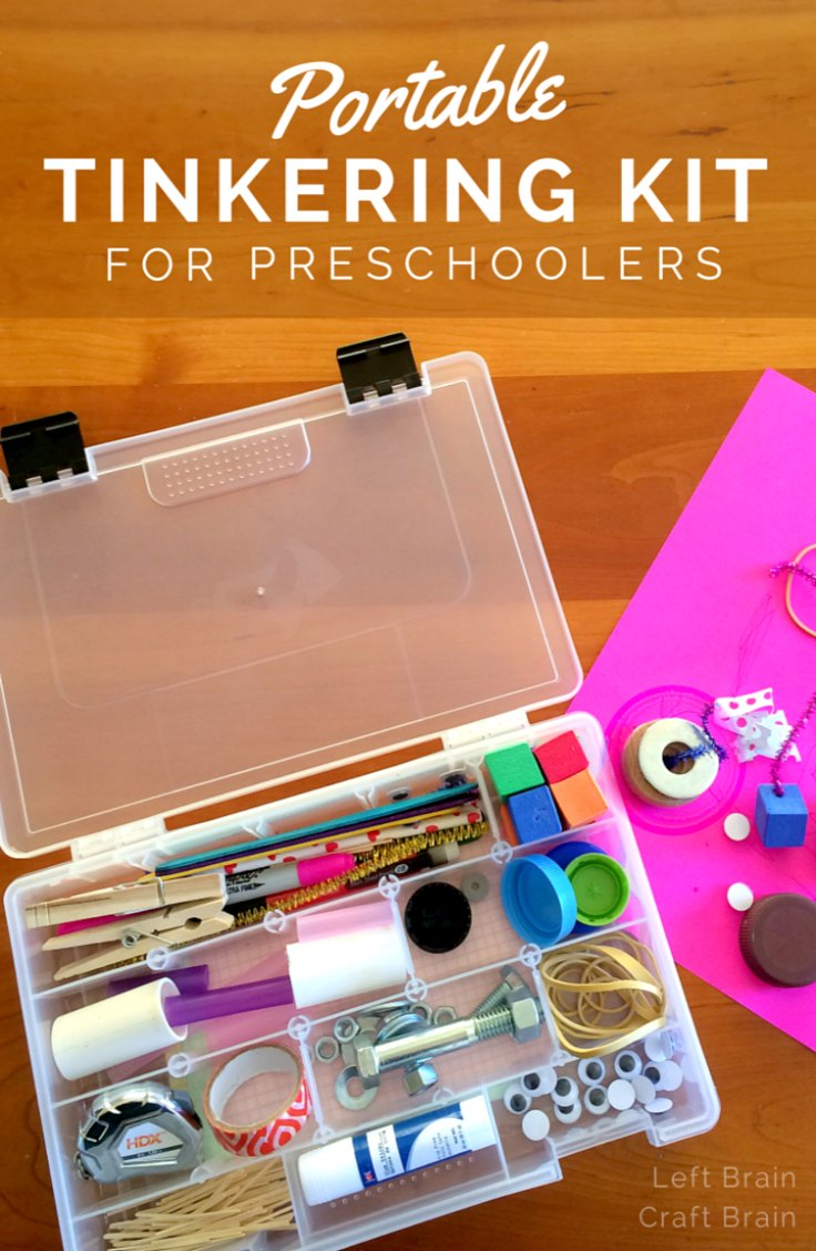 Craft kits for preschoolers - Make Your Preschooler A Portable Tinkering Kit Full Of Loose Parts Perfect For Inventing Builds