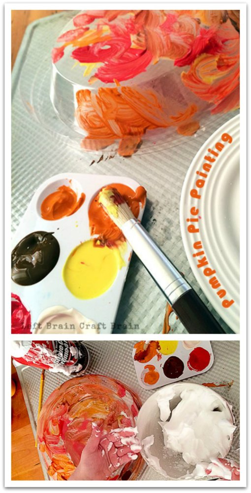 It's pumpkin pie themed painting and messy play rolled into one.  While you bake, kids can paint their own pumpkin pie, whipped cream and all.  Great for Thanksgiving and Christmas.