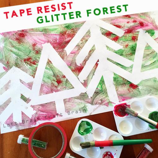 Tape Resist Glitter Forest Left Brain Craft Brain 650