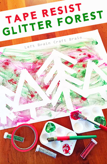 This Tape Resist Glitter Forest is a Five Minute Craft that is so simple to set up but is big on fun. And glitter! Great for Christmas.