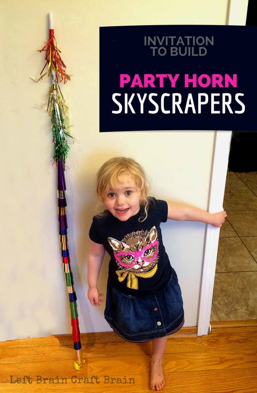Party on New Year's Eve by building with party horns! It's festive STEM fun that builds motor skills and is musical too. Great for birthday parties too.