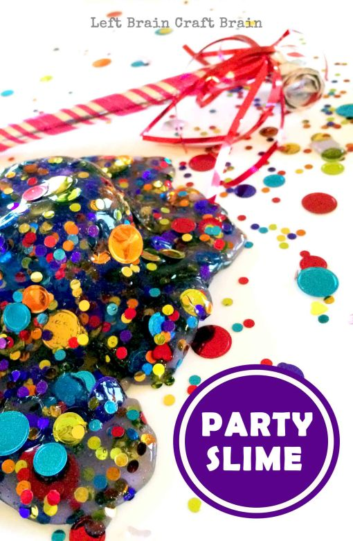 It's party time. It's slime party time! This confetti filled slime makes a great birthday party activity, favor or gift and is perfect for New Year's Eve.