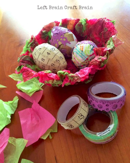 Eggs in Tissue Paper Basket Left Brain Craft Brain