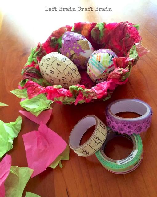 Eggs in Tissue Paper Basket Left Brain Craft Brain