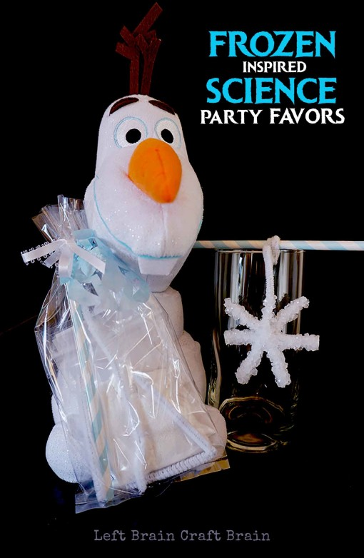 Looking for ideas for Frozen Birthday Party Favors? Put a science twist on them with these crystal snowflake kit favors. Use science to make snow like Elsa!