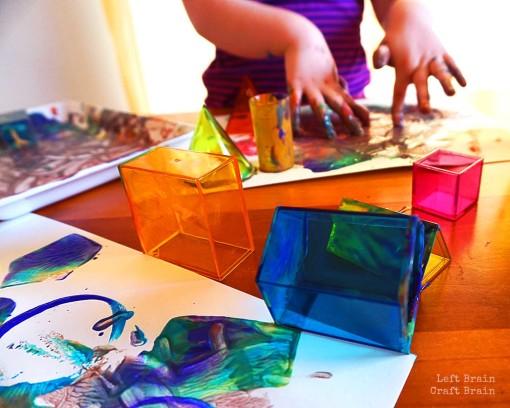 Rainbow Geometry Painting Closeup
