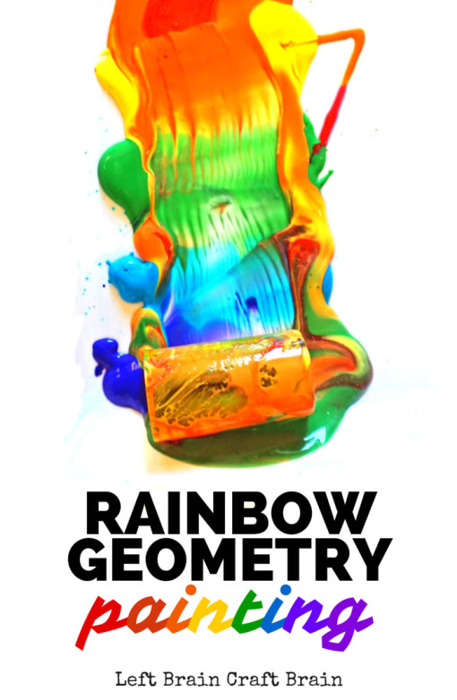Rainbow geometry painting is a colorful way to learn about shapes and color mixing.  STEM meets Art = STEAM.