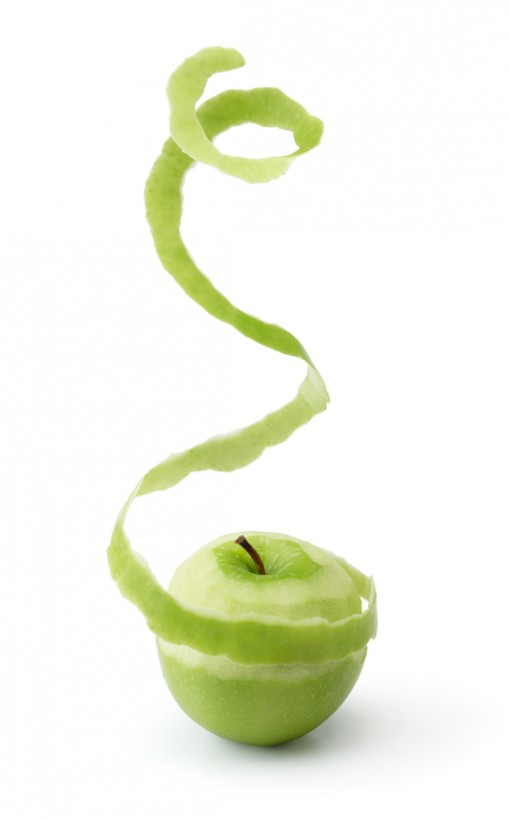 peeling green apple