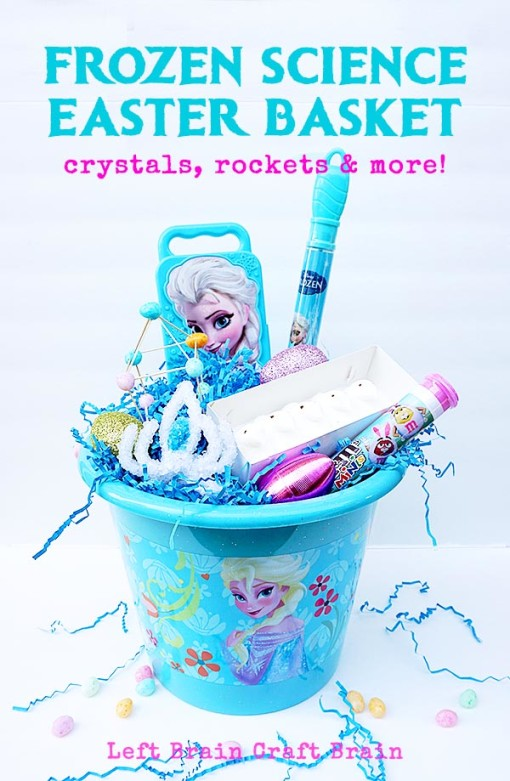 Have tons of Disney FROZEN science fun with this science filled Easter basket. Enjoy experiments like exploding snow monsters, slime and crystal crows. #DisneyEaster #ad