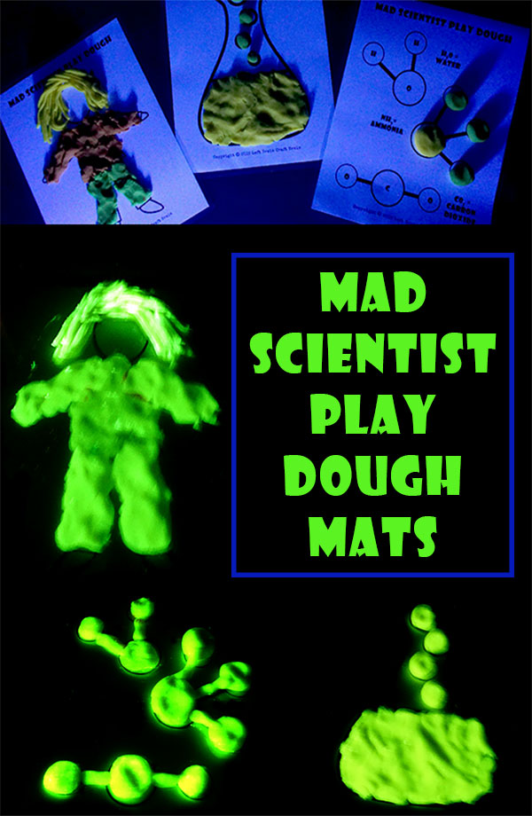 Have some silly science fun with these Mad Scientist Play Dough Mat printables made extra fun with glow in the dark play dough.