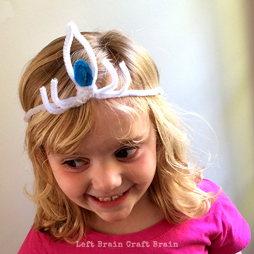 Trying on Elsas Crown Left Brain Craft Brain
