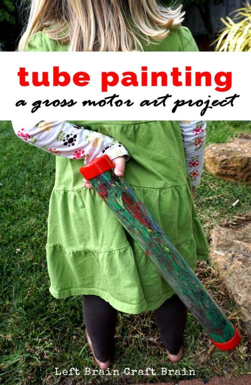 Explore color mixing  with this fun tube painting project using clear mailing tubes.  It makes a great gross motor activity too!