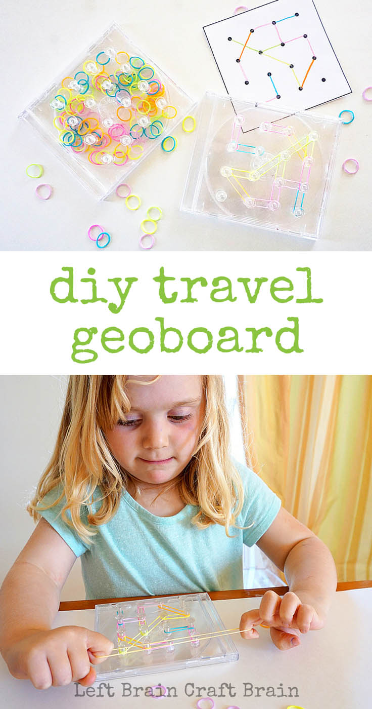 Make this travel geoboard out of an old CD case for fun STEM learning on the road.
