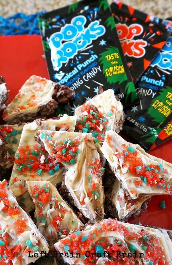 Snap Crackle Pop Rocks Chocolate Bark is a sweet, popping candy perfect for Fourth of July and birthday parties.