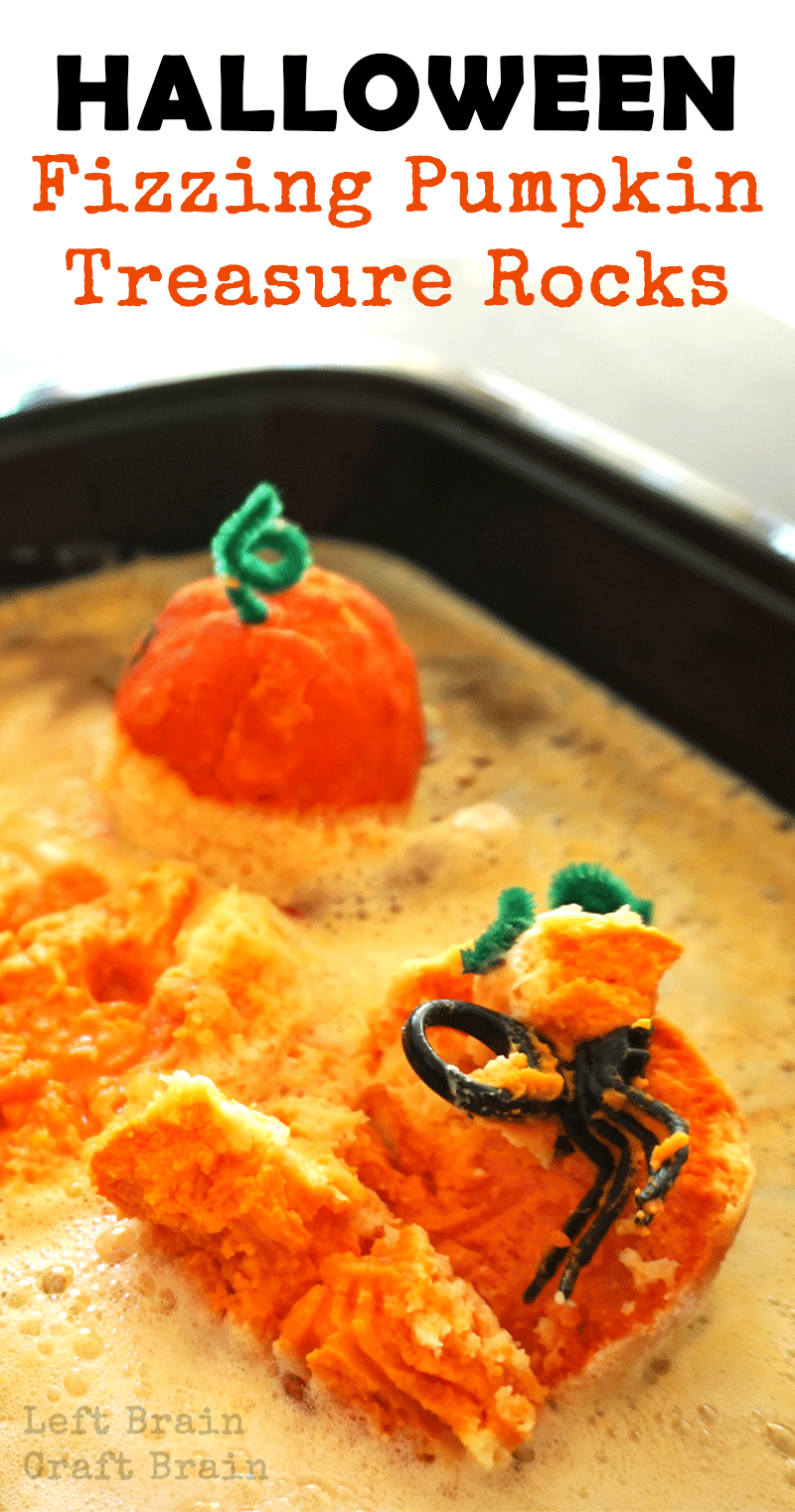 These fizzing pumpkin treasure rocks are great Halloween STEM / STEAM fun for kids. They're perfect party favors for your Halloween bash, too.