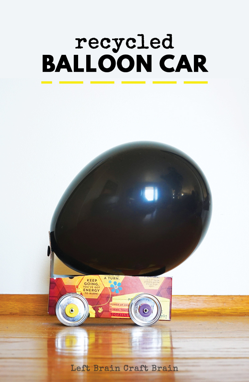 Raid the recycling bin for supplies to make these fun balloon cars. It's a great project for class, at home, scouts, and STEM nights at school, too!