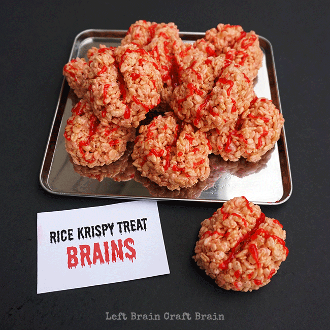 totally delicious totally creepy rice crispy treat brainsare perfect for your halloween or mad scientist