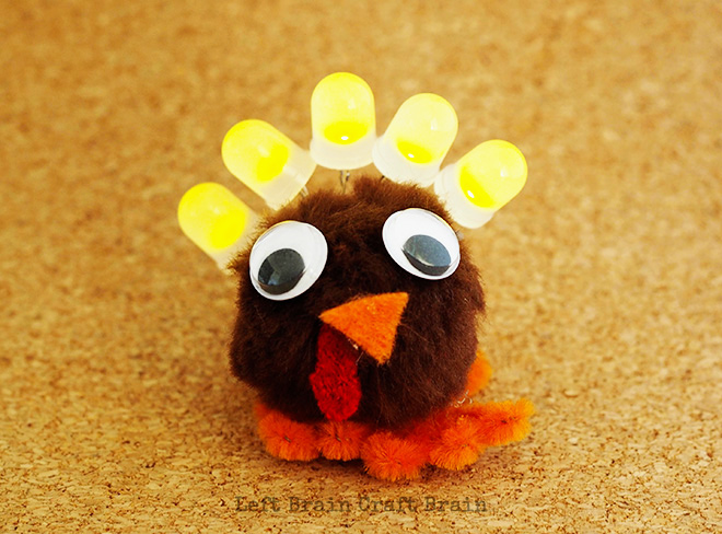 Light Up Thanksgiving Turkey Circuit Craft For Kids Left