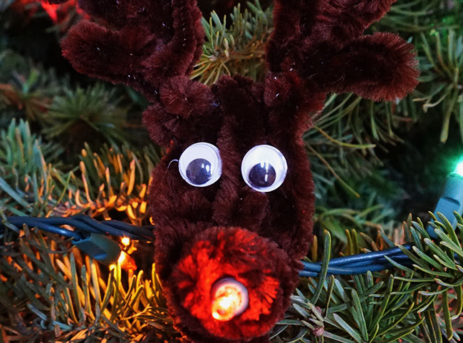 Super Easy Light Up Rudolph Christmas Ornament