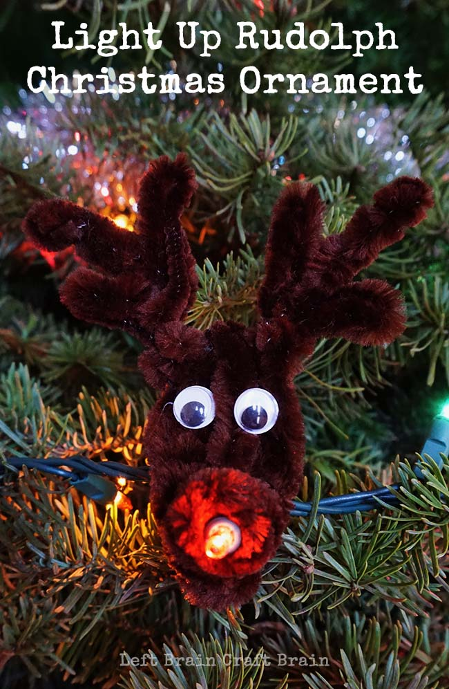 Light up Christmas with everyone's favorite reindeer with this super easy Light Up Rudolph Christmas Ornament.