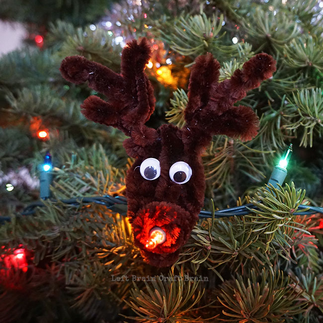 light up rudolph ornament made from pipe cleaners