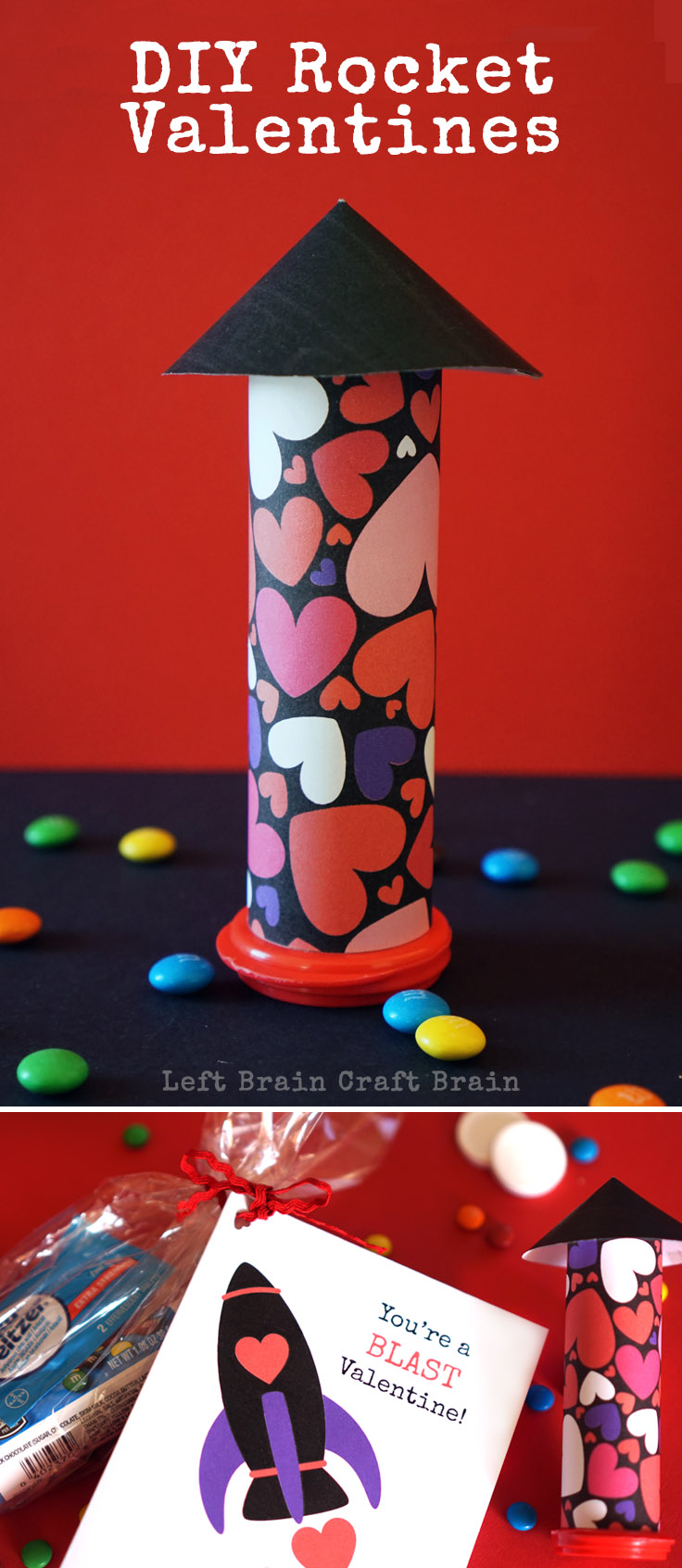 This year give fun, flying DIY Rocket Valentines. Wrap up M&M's, Alka Seltzer and a free printable card for an awesome Valentine's Day STEM project for kids.