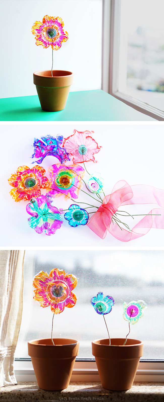 Recycled Plastic Flowers Art And Science Project Left Brain Craft Brain