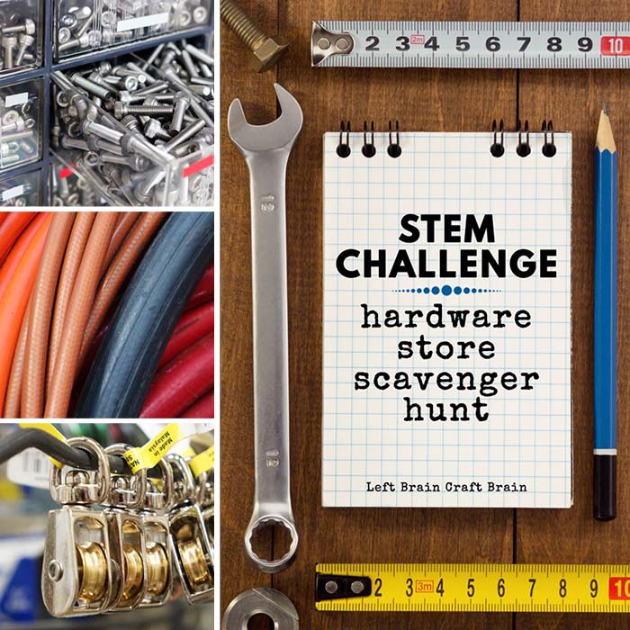 Inspire the maker in your child with this fun Hardware Store Scavenger Hunt. It's the perfect STEM Challenge for after school or scout activities.