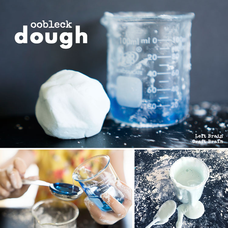 Have some messy science fun with this easy to make oobleck dough.