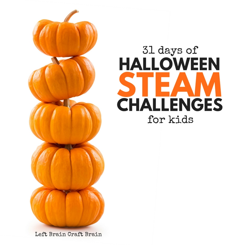 Play and learn this Halloween with these Halloween STEAM Challenges. These STEM plus Art free printable cards are spooky, sweet, ghostly and fun!