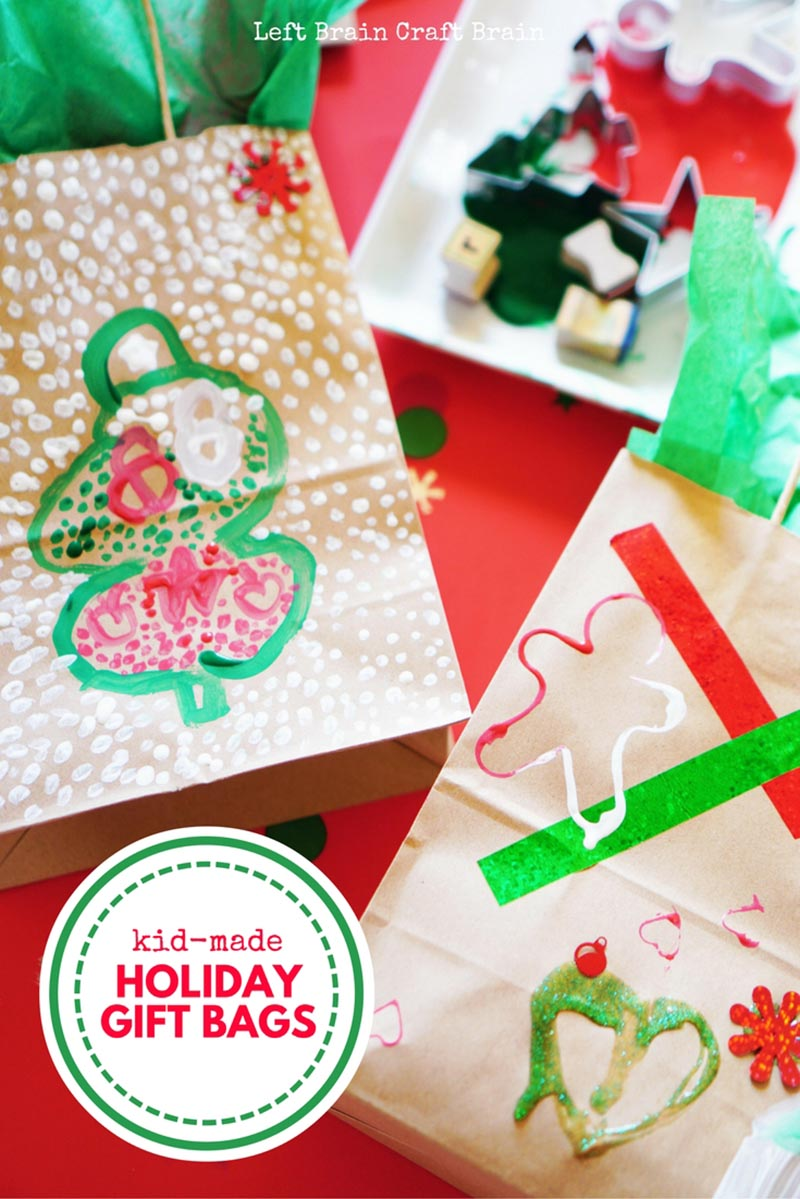 A festive process art project turns into a wonderful gift with these kid-made holiday gift bags.