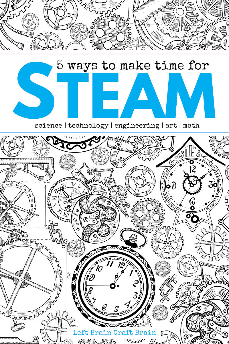 5 easy ways to make time for STEAM (science, technology, engineering, art, math) learning this year.