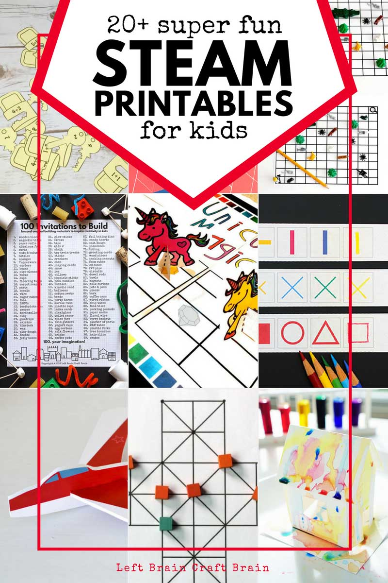 Kick your worksheet game up a notch with these really unique and hands-on STEAM printables. They make science, technology, engineering, art, & math fun.