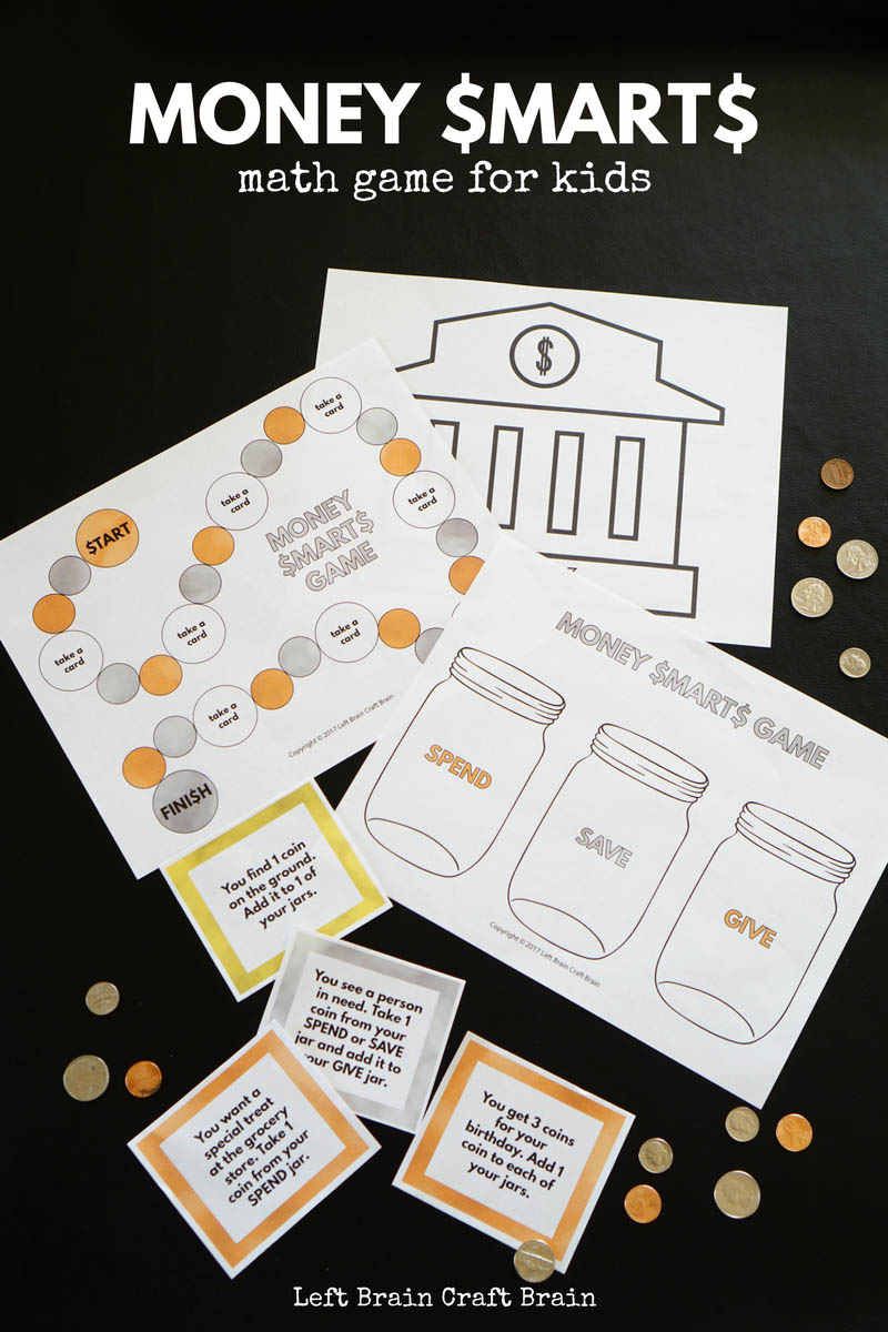 Teach your kids to be smart with their money with this printable Money Smarts Money Math game.